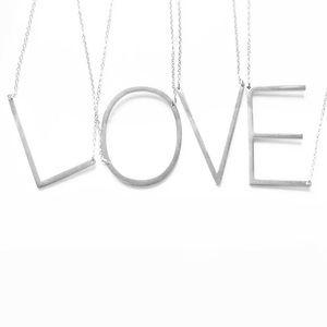 Silver Initial Pendant Necklace Letters A-Z
